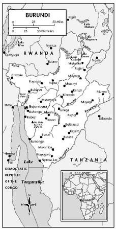LOCATION: 2°20′ to 4°28′ S; 29° to 30°50′ E. BOUNDARY LENGTHS: Rwanda, 290 kilometers (180 miles); Tanzania, 451 kilometers (280 miles); Democratic Republic of the Congo, 233 kilometers (145 miles).