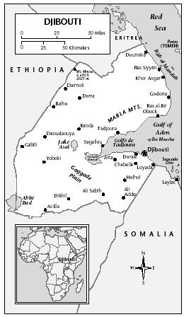 LOCATION: 10°54′ to 12°43′ N; 41°45′ and 43°27′ E. BOUNDARY LENGTHS: total coastline, 314 kilometers (196 miles); Somalia, 58 kilometers (36 miles); Ethiopia, 337 kilometers (210 miles); Eritrea, 113 kilometers (70 miles). TERRITORIAL SEA LIMIT: 12 miles.