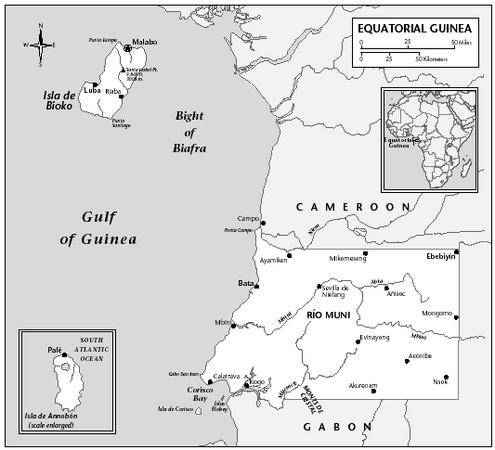 LOCATION: 1°1′ to 3°48′ N; 8°26′ to 11°20′ E Annobón at 1°25′ S and 5°36′ E. BOUNDARY LENGTHS: Cameroon, 189 kilometers (118 miles); Gabon, 350 kilometers (218 miles); total coastline, 296 kilometers (183 miles). TERRITORIAL SEA LIMIT: 12 miles.