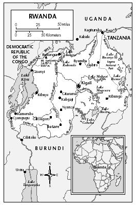 LOCATION: 1°4′ to 2°50′ S; 28°51′ to 30°55′ E. BOUNDARY LENGTHS: Uganda, 169 kilometers (105 miles); Tanzania, 217 kilometers (135 miles); Burundi, 290 kilometers (180 miles); Democratic Republic of the Congo (DROC), 217 kilometers (135 miles).