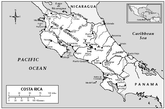 LOCATION: 8°2′ 26″ to 11°13′ 12″ N; 82°33′ 48″ to 85°57′ 57″ W. BOUNDARY LENGTHS: Nicaragua, 309 kilometers (192 miles); Panama, 330 kilometers (205 miles); Caribbean and Pacific coastlines, 1,290 kilometers (802 miles). TERRITORIAL SEA LIMIT: 12 miles.