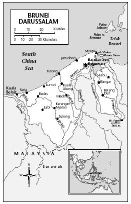 LOCATION: 4°2′ to 5°3′ N; 114° to 115°22′ E. BOUNDARY LENGTHS: Malaysia, 381 kilometers (237 miles); South China Sea and Brunei Bay coastlines, 161 kilometers (100 miles). TERRITORIAL SEA LIMIT: 12 miles.