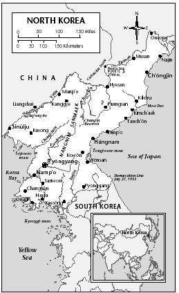 LOCATION: 37°38′ to 43°1′ N; 124°13′ to 130°39′ E. BOUNDARY LENGTHS: China, 1,025 kilometers (637 miles); Russia, 16 kilometers (10 miles); ROK, 240 kilometers (149 miles); total coastline, 1,028 kilometers (639 miles). TERRITORIAL SEA LIMIT: 12 miles.