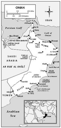 LOCATION: 51°50′ to 59°40′ E; 16°40′ to 26°20′ N. BOUNDARY LENGTHS: Total coastline, 2,092 kilometers (1,301 miles); Yemen, 288 kilometers (179 miles); Sa'udi Arabia, 676 kilometers (420 miles); United Arab Emirates, 410 kilometers (255 miles). TERRITORIAL SEA LIMIT: 12 miles.