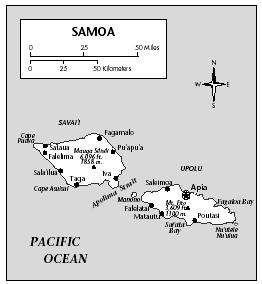 LOCATION: 13° to 15° S; 171° to 173° W. BOUNDARY LENGTHS: Savai'i 188 kilometers (117 miles); Upolu coastline, 183 kilometers (114 miles). TERRITORIAL SEA LIMIT: 12 miles.