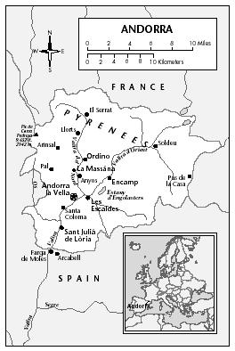 LOCATION: 42°25′ to 42°40′ N; 1°25′ E. BOUNDARY LENGTHS: France, 60 kilometers (37.3 miles); Spain, 65 kilometers (40.4 miles).