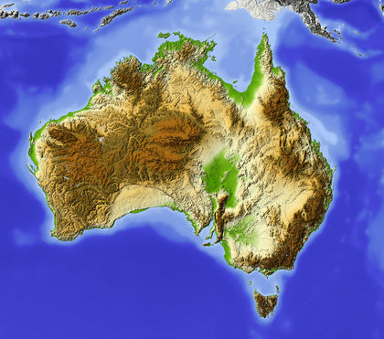 Topography - Australia - average, area, system
