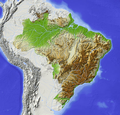 Topography Brazil Located Average Area - Where is brazil located