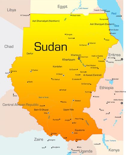 Location, size, and extent - Sudan - located, area