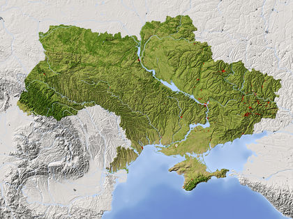 Location, size, and extent - Ukraine - located, area